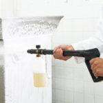 Reinigung mit über 80 Grad heißem Wasserstrahl